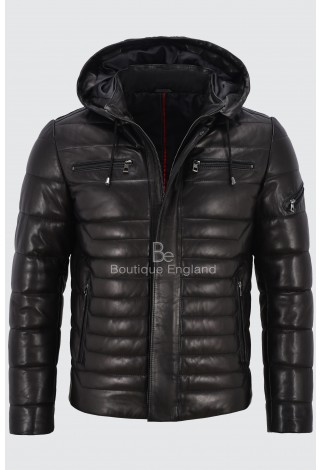 Men's Black Puffer Hooded Real Lambskin Napa Leather Sport Jacket Fully Quilted 2006