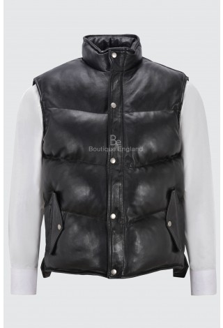 Men's Padded Puffer Black Gillet Waistcoat Sleeveless Real Genuine Leather Jacket