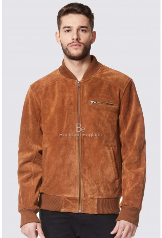 Men's Tan Suede Classic Retro Soft Leather Bomber Jacket