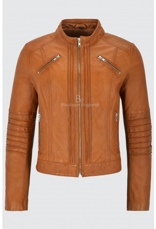 Ladies Leather Jacket Tan Classic Biker Style 100% Real Lambskin 1138