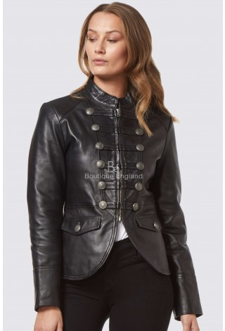 'VICTORY' Ladies BLACK Military Parade Style Soft Real Lamb Skin Leather Jacket 8976