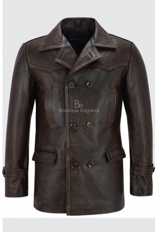 Men's Cowhide Leather Jacket Black Rub Off Vintage WW2 Inspired Coat Dr-Who