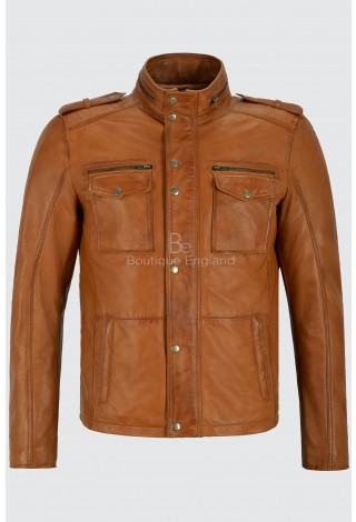 Men's Trojan Leather Jacket Tan Biker Style Fashion Real Lambskin Leather 5540