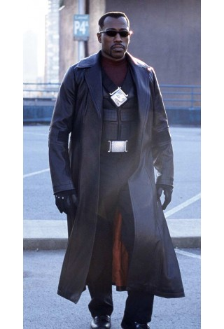 Men's BLADE Black Movie Inspired FULL-LENGTH Wesley Snipes Real Nappa Leather Jacket Coat 147