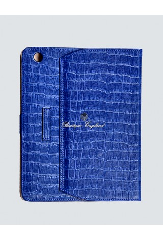 i-PAD Blue Croc Print 2 3 & 4 Luxury Real Genuine Leather Cover Case Stand