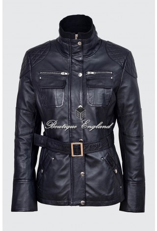 Ladies Black Slim Fit Soft Leather Jacket Casual Military Collar Rock 9345