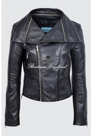 Ladies BLACK Deluxe Rock Biker Style Designer Real Nappa Leather Jacket 5062