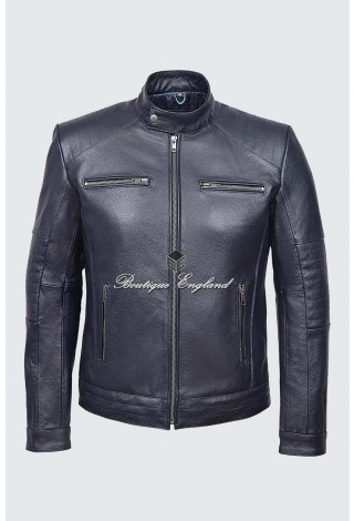 Men's Fielder Navy Cool Retro Biker Style Motorcycle Cowhide Leather Jacket