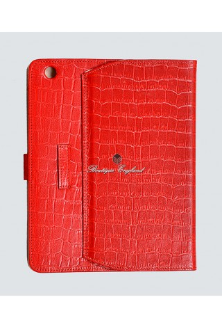 i-PAD Red Croc 2 3 & 4 Print Luxury Real Genuine Leather Cover Case Stand