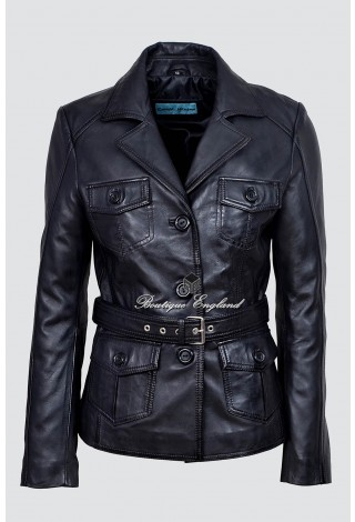 Ladies 5460 Black Slim Fit Soft Leather Jacket Casual Military Collar Rock