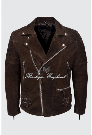 RECKLESS Mens Brown Suede Biker Style Motorcycle Real Luxury Leather Jacket 233