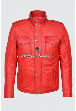 TROJAN Men's Washed RED Biker Style Vintage Soft Napa Real Leather Jacket 5540