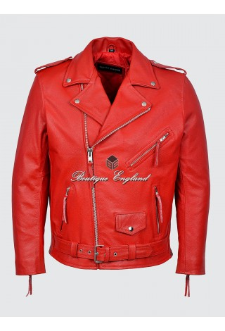 BRANDO Men's MBF Red Classic Motorcycle Biker Cowhide Real Leather Jacket