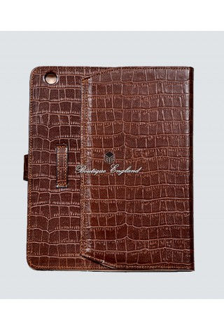 i-PAD Tan Croc 2 3 & 4 Print Luxury Real Genuine Leather Cover Case Stand