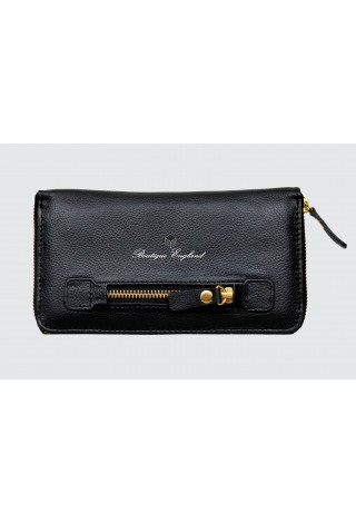 Luxury Ladies Purse P-432 Black Cowhide Real Genuine Leather Card Holder Pouch