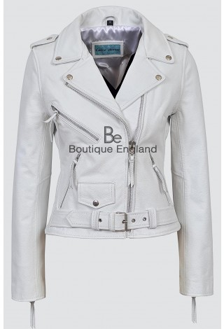 CLASSIC BRANDO Ladies MBF White Cowhide Biker Style Motorcycle Cruiser Leather Jacket