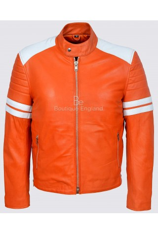 'MAYHEM' Fight Club Men's ORANGE With WHITE Stripe Biker Style Leather Jacket