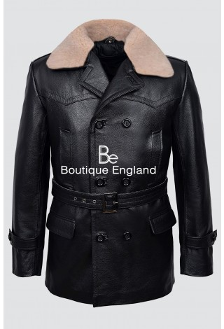 Dr-Who Black Real Fur Collar Men's Classic Reefer Military Hide Leather Jacket