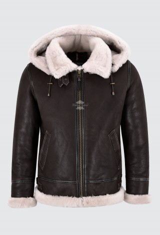 Classic Sheepskin B-3 Bomber Jacket with Detachable Hood Men's Shearling Jacket 16117