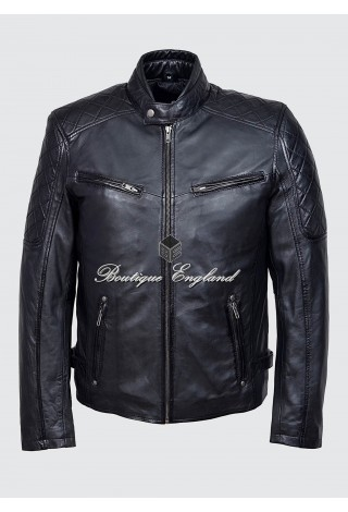 Men's 6570 Black Cool Retro Biker Style Motorcycle Soft Napa Leather Jacket