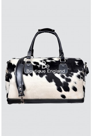 New Men's Large Weekend Black COW Print Fur Real Cow Hide Leather Holdall Bag