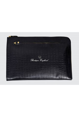 Deluxe 4550 Black Croc Print Real Leather Under Arm Folder Document Holder Case
