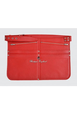 REAL LEATHER MARKET TRADERS CASH Bag Red SHOULDER STRAP BELT ZIP