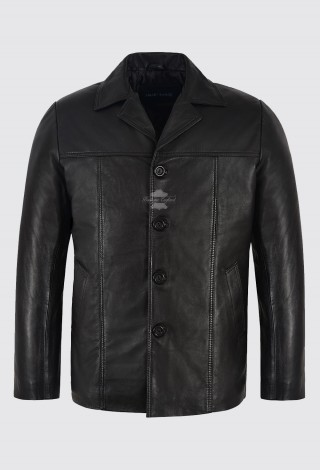 Men's Retro Style Real Leather Black Lambskin Reefer Mid Length Coat 4010