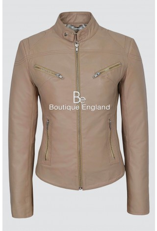 New 'SPEED' Ladies Beige Retro Biker Style Fitted Motorcycle Leather Jacket SR-01