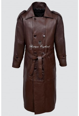 'DOUBLE BREASTED TRENCH' Men's 6965 Brown FULL-LENGTH Real Nappa Leather Jacket Coat