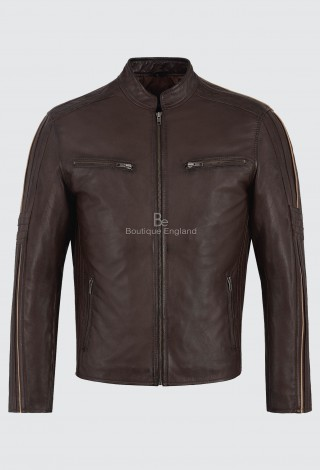 Men's Leather Jacket Brown Soft Napa Cool Retro Biker Motorcycle Style 4924