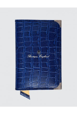 New Leather Passport Holder Blue Luxury Real Genuine Croc Leather Deluxe Case Pouch