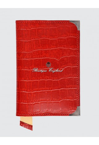 New Leather Passport Holder Red Luxury Real Genuine Croc Leather Deluxe Case Pouch