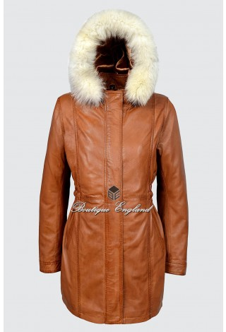 Ladies Alice Tan Napa Classic SYLVIA MidLength Fur Collar Real Leather Jacket Coat