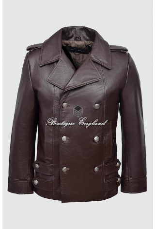 GERMAN NAVAL Men's Brown Cowhide Classic Reefer Military Leather Coat Jacket 8971