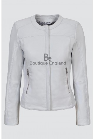Ladies 5328 White Stylish Fashion Designer Quilted Soft Real Lambskin Leather Jacket