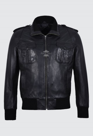Men's Leather Pilot Jacket Black | Aviator Classic Bomber Style 100% Leather 6996