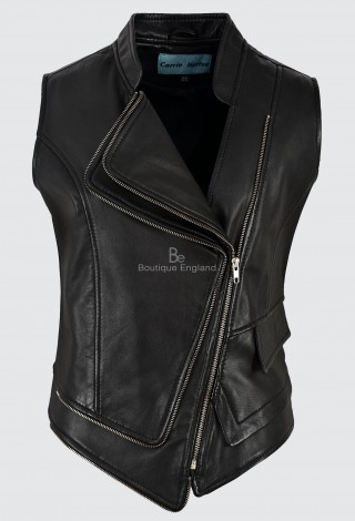 Ladies Leather Waistcoat Black Real Lambskin Punk Biker Motorcycle Style 7581