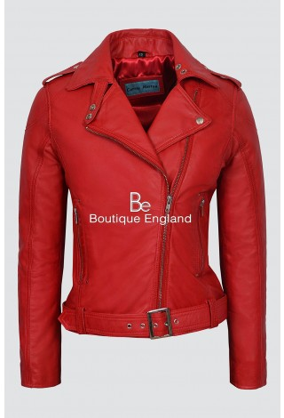 CHELSEA Ladies 1122 RED Biker Chick Style Designer Real LambSkin Leather Jacket