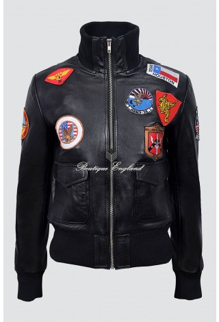 Ladies TOP GUN BLACK Jet Fighter Bomber Navy Air Force Fur Pilot Leather Jacket