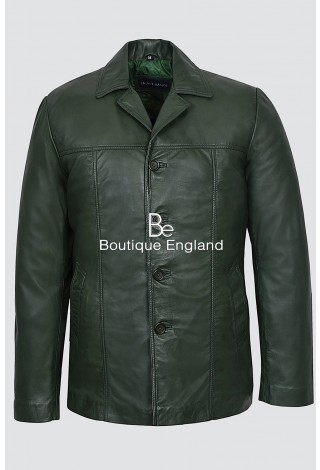 4010 Green Napa Men's Classic Hip Length Coat Real Lambskin Leather Jacket
