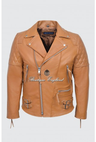 RECKLESS Men's Tan Cowhide Biker Style Motorcycle Real Leather Jacket 233