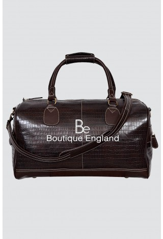 NEW 'DUFFLE' LARGE WEEKEND Brown CROC HOLDALL TRAVEL GYM REAL GENUINE LEATHER BAG