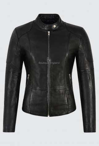 Women's Real Leather Jacket Black Napa Slim Fit Classic fashion Biker Style 1452