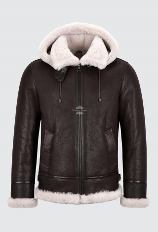 Men's Sheepskin B3 Jacket Detachable Hood Real Shearling Bomber Fur Jacket A-Pilot