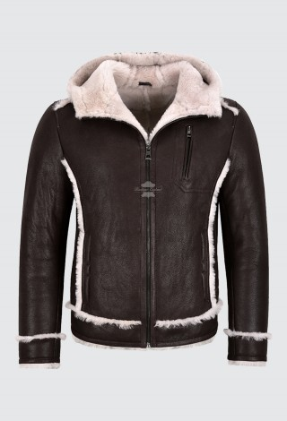 Men's B3 Sheepskin Jacket Real Shearling Fur Classic Aviator Hooded Jacket M-250