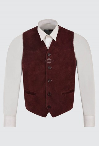 Mens Cherry Suede Real Leather Waistcoat Western Cowboy Festival Party Vest ZARA