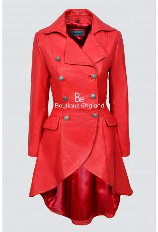 EDWARDIAN 3491-P RED Napa Ladies Women WASHED Real Leather Jacket Coat Gothic