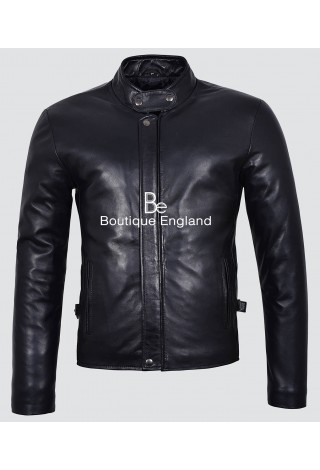 Men's New 3890 Black Biker Rider Style Soft Nappa Leather Jacket