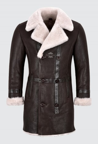 Men's Shearling Pea Coat Double Breasted Winter Long Jacket Sheepskin Fur Coat M-49